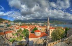 Budva, Adriatische overzees, Montenegro - panorama van vesting Budva royalty-vrije stock foto