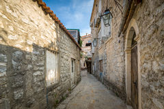 Budva ancient fortress narrow street Stock Images