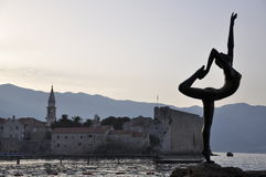 Budva ballerina statues and old town Royalty Free Stock Photo