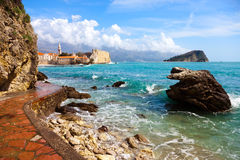 Budva bay. Fragment of coast near to Budva town.Montenegro Stock Photo