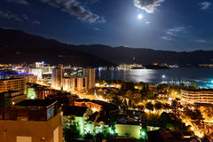 Budva city and bay at night Royalty Free Stock Images