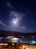 Budva city and bay at night Stock Images