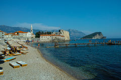 Budva city Montenegro beach Stock Photos