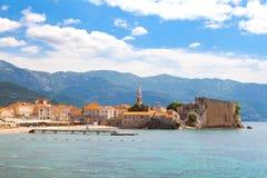 Budva coast, beach and Old Town, Montenegro, Royalty Free Stock Photo