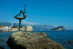 Budva dancer statue in Montenegro. Shot stock images
