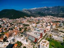 Budva dans Monténégro, ville nouvelle, photographie aérienne Image stock