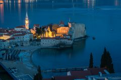 Old Town in Budva from above at night stock photo
