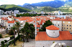 Budva. Montenegro. Budva. Beautiful view from the top of the historical part of the city. Budva is a UNESCO World Heritage Site Stock Image