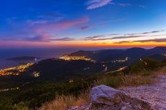 Budva Montenegro bij zonsondergang Royalty-vrije Stock Fotografie