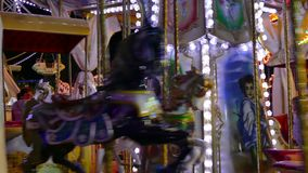 Merry Go Round in an Amusement Park stock video footage
