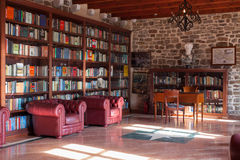 BUDVA, MONTENEGRO - FEBRUARY 7, 2016: The Library in the Citadel museum. Stock Photography