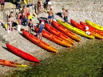 People of different ages will soon paddle canoe royalty free stock photo
