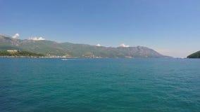 Budva, Montenegro -June 28 2016: Adriatic Sea and mountains stock video footage