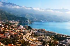 Budva, Montenegro-Küste Vogelperspektive von Budvanska Riviera Lizenzfreie Stockfotografie