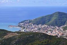 Budva, Montenegro od wysokości nad miasto Obrazy Royalty Free