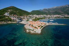 Budva. Montenegro Budva old town mountains tourist Stock Photo