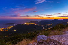 Budva Montenegro på solnedgången Royaltyfri Fotografi