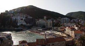 Budva, Montenegro. Sea view of old town in Budva, Montenegro stock images