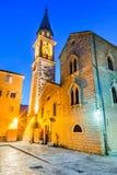 Budva, Montenegro - Sveti Ivan church. Budva, Montenegro. Sveti Ivan St. John Catholic Church Cathedral, Adriatic Sea royalty free stock images