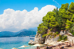 Budva. Old Budva bay view from Saint Stefan beach Stock Image