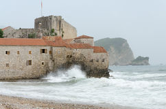 Budva. Old city in Budva against mountains, Montenegro Royalty Free Stock Images