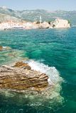 Budva old town. The old town of Budva and the Adriatic Sea Stock Photos