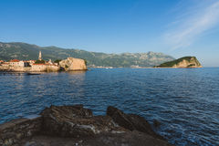 Budva Old Town and Adriatic Sea View Stock Photos
