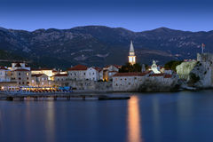 Budva old  town castle, night scen Royalty Free Stock Photo