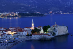 Budva old  town castle at night Stock Photography