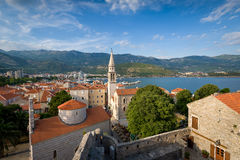 Budva old town landscape. Budva old town view from sightseeing point at fortress walls. Evening warm light. Popular touristic attraction. Montenegro Royalty Free Stock Photography