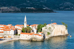 Budva old town. Old part of Budva city, located on narrow cape. Montenegro Royalty Free Stock Image