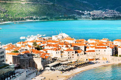 Budva old town. Old part of Budva city, located on narrow cape. Montenegro Royalty Free Stock Images