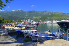 Budva port boats,Montenegro. Anchored cruise and fishing boats and luxurious yachts at Budva ,Adriatic sea,Montenegro Stock Image