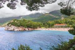 Budva Riviera Milocer-Hotel montenegro stockbild