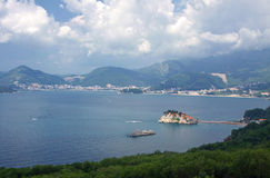 Budva's riviera, Montenegro. Aerial view of Sveti Stefan island and Budva's riviera, Montenegro Stock Photography