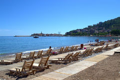 Budva-Strandansicht, adriatisches Meer Lizenzfreies Stockbild