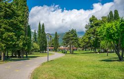 In budva there is a picturesque park near the embankment. Royalty Free Stock Image