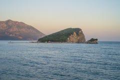 Budva. Warm sea. Sant-Nicolos Island. Royalty Free Stock Photos