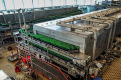 Budvar Budweiser brewery. Bottle sorting, washing and beer bottling workshop with assembly-lines. Ceske Budejovice, Czech Republic - June 30, 2016: Budvar Royalty Free Stock Photography