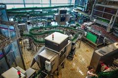 Budvar Budweiser brewery. Bottle sorting, washing and beer bottling workshop with assembly-lines. Ceske Budejovice, Czech Republic - June 30, 2016: Budvar Royalty Free Stock Photos