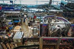 Budvar Budweiser brewery. Bottle sorting, washing and beer bottling workshop with assembly-lines. Ceske Budejovice, Czech Republic - June 30, 2016: Budvar Royalty Free Stock Images