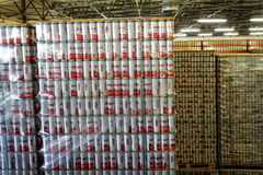 Budvar Budweiser brewery. Warehouse with finished products. stock images
