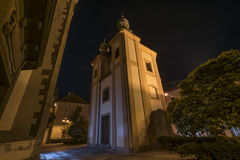 Budweis big square in night Royalty Free Stock Images