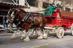 Budweiser Clydesdales принимать парад праздника стоковое фото rf
