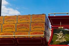 Budweiser-Wagen door Clydesdale Horses wordt getrokken die Royalty-vrije Stock Foto's