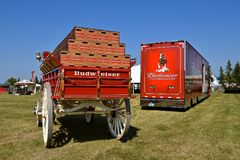 Budweiser wagon and truck for hauling the Clysdales and supplies. MOORHEAD, MINNESOta, July 22, 2017: Anheuser-Busch sponsored Grower Days honoring farming who Stock Image