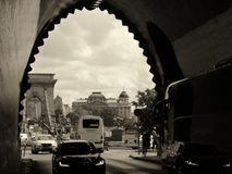 Budy Tunelowy wyjście z widokiem podbródka most w Budapest obrazy royalty free