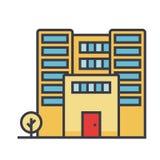Budynek biurowy płaska kreskowa ilustracja, pojęcie wektor odizolowywał ikonę Zdjęcie Stock