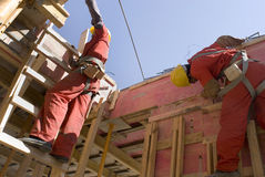 budynek budowy ściana poziomy pracownika, Obraz Stock
