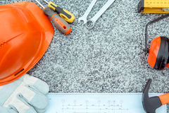 Budynek budowy inżynierii narzędzi pracy przedmioty odizolowywający zdjęcia royalty free